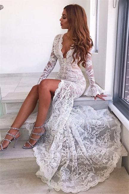 Elegant Mermaid Lace V-Neck Evening Dresses    Long Sleeves Prom Dresses
