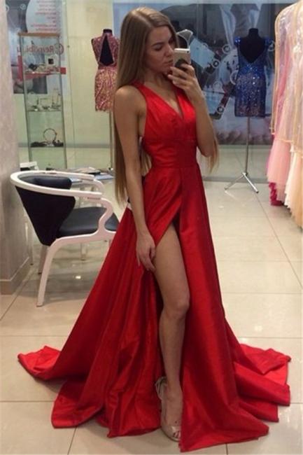 Sexy Side Slit Prom Dresses  V-neck Stretch Satin  Evening Gowns CE0015