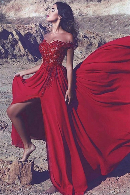 Off The Shoulder Red Appliques Formal Evening Dresses Sexy Slit Popular Prom Dress  BA7372