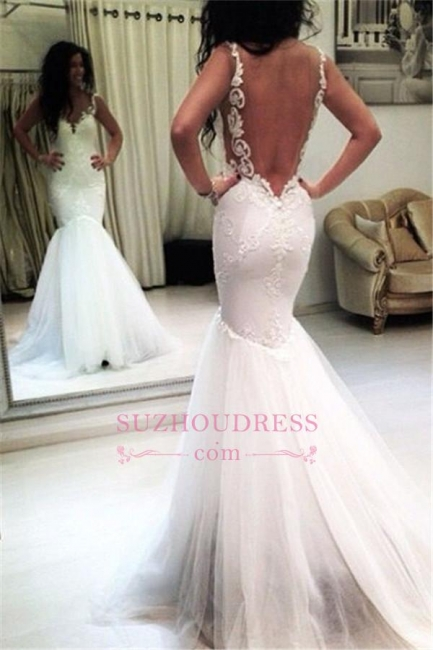 Sexy Mermaid Appliques Tulle Open Back Sleeveless Wedding Dresses