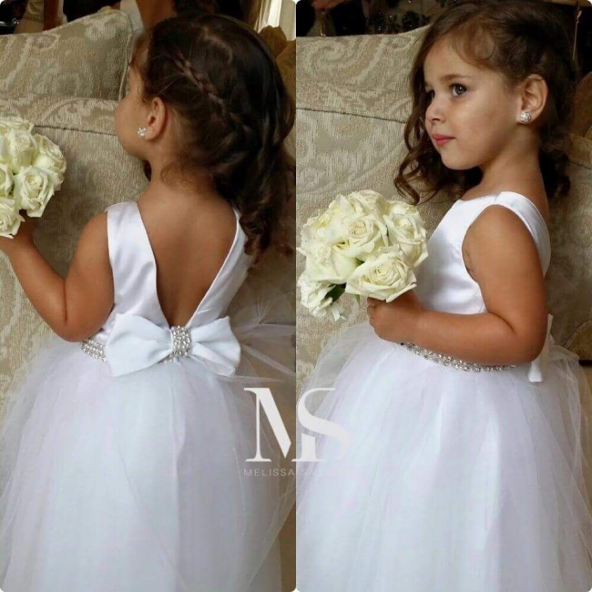 White Lively Crystal Flower Girl Dress Bowknot Cute Long  Wedding Dress BO8383
