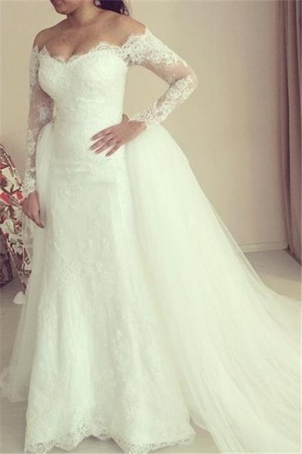 Off-the-shoulder Wedding Dress Long Sleeve Puffy Tulle Train Elegant Bridal Dresses