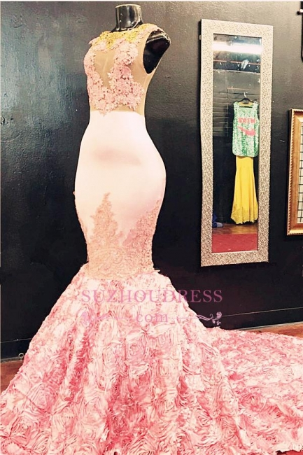 Appliques Pink Gorgeous Lace Mermaid Evening Gown Flowers Bottom Illusion Sleeveless  Prom Dress BA5587
