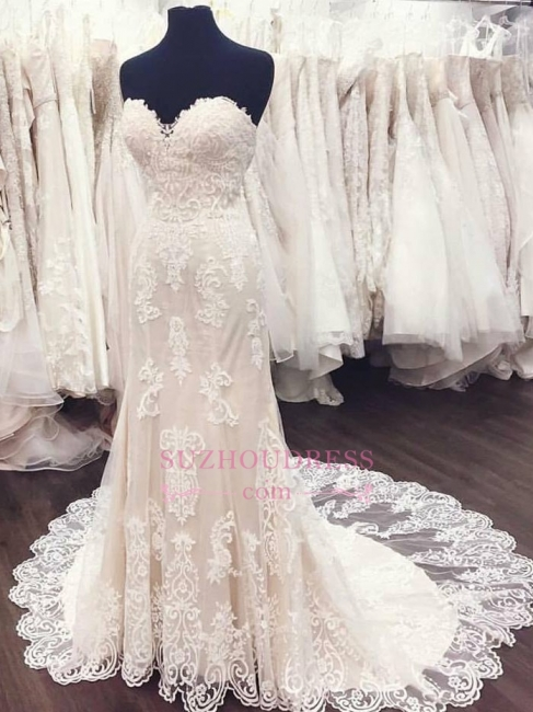 Lace A-Line Sweetheart Bride Dress Elegant  Simple Weeding Dresses
