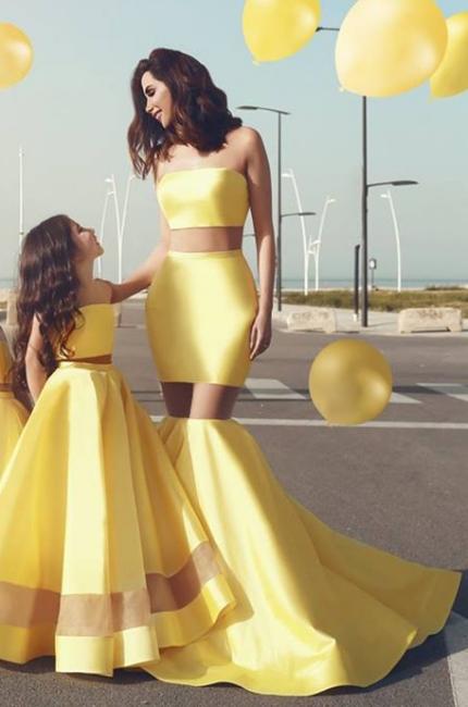 Bright Yellow Sext Mermaid Evening Dresses  | Strapless See Through  Bridesmaid Dress