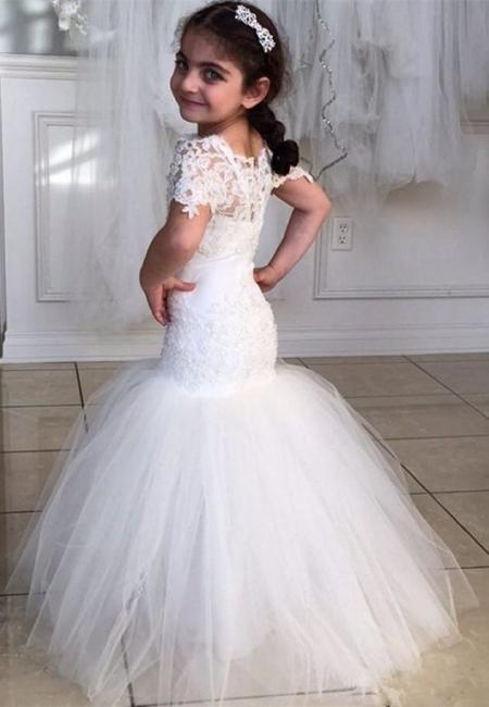 Lovely Short Sleeve Mermaid Children Dresses Lace Mermaid Floor Length Flower Girl Dress BA2193