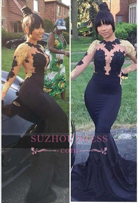 Black Mermaid Gold Lace-Appliques Sexy Long-Sleeve Prom Dress  PT0205