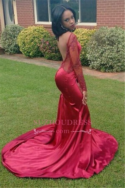 Appliques New Mermaid Backless Evening Gowns Long Sleeves Red Sexy Prom Dress