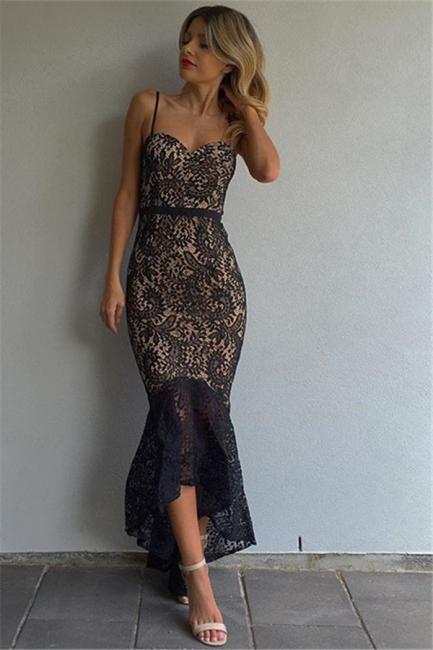 Black Lace Mermaid Prom Dresses  Spaghetti Straps Hi-Lo Evening Gowns BA7812