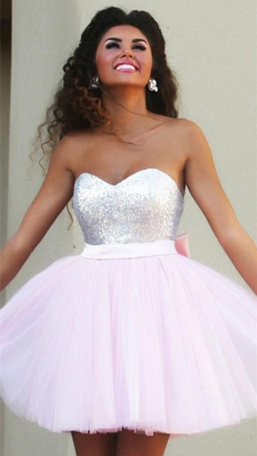 New Arrival Cute Pink Sweetheart Mini Homecoming Dress Sequined Bowknot  Short Cocktail Dress