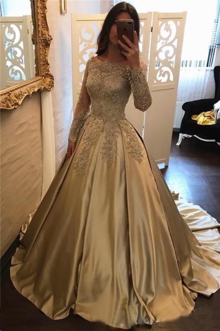 Long Sleeve Gold Lace Appliques Prom Dress  Elegant Puffy Formal Evening Dress BA7165