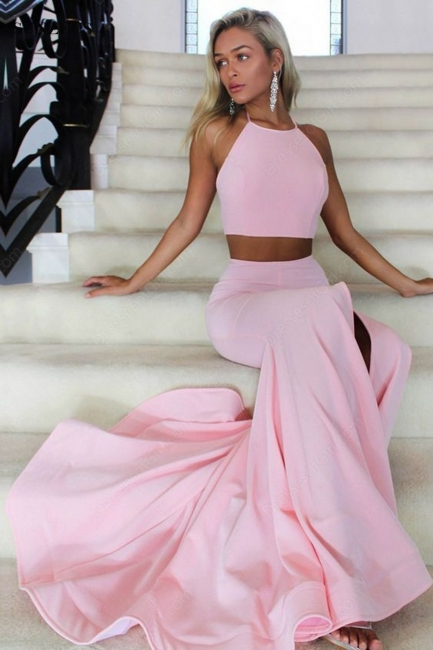 Halter Open Back Sexy Formal Dresses  Two Piece Front Slit Evening Gowns