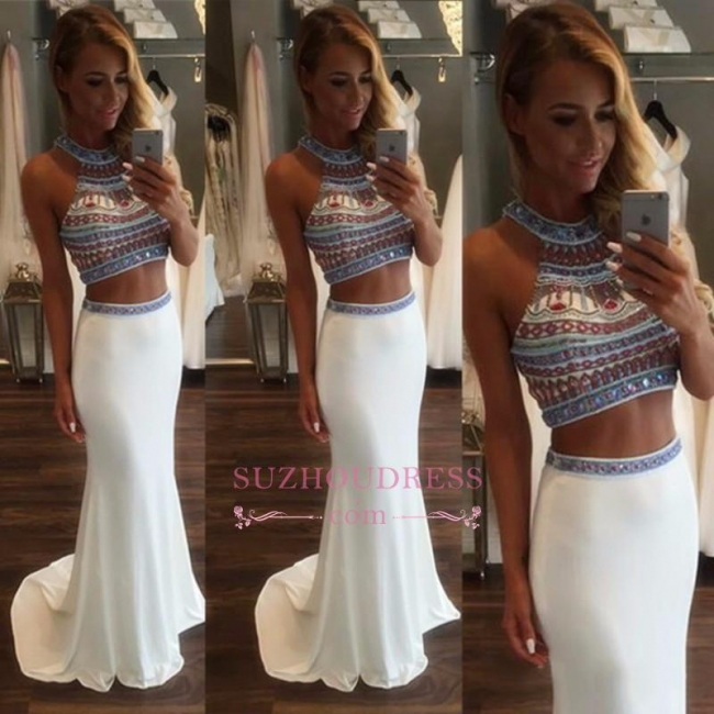 High Neck Crystals Mermaid Evening Dresses  Two Pieces Popular Prom Dress BA3593
