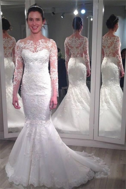 Lace Long Sleeve Wedding Dresses  Vintage Mermaid Bridal Gowns with Appliques