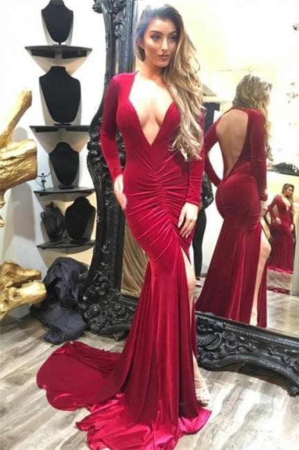 Long Sleeve Sexy V-neck Evening Dress Burgundy Velvet Open Back Prom Dress with Front Slit