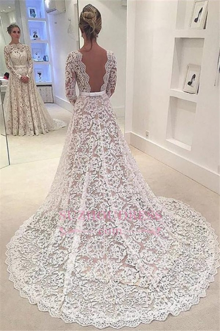 Elegant Long Sleeves Lace Evening Gowns Backless Bowknot A-Line Wedding Dress  BA3858