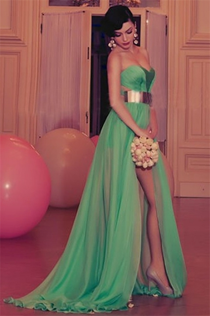 Sexy Sweetheart  Chiffon Evening Dress with Gold Belt Green Sexy Party Dresses with Split BO5421