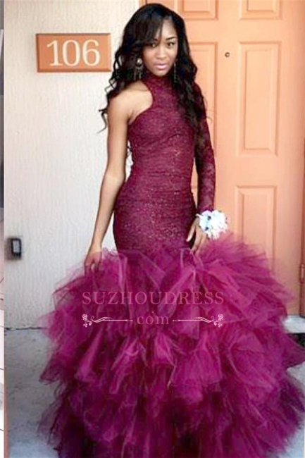 Tulle Sheath Latest Lace High-Neck Puffy Specail One-Sleeve Prom Dress  JJ0114