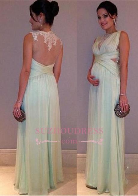 Sleeveless Elegant Chiffon Lace A-line Maternity Long Prom Dress