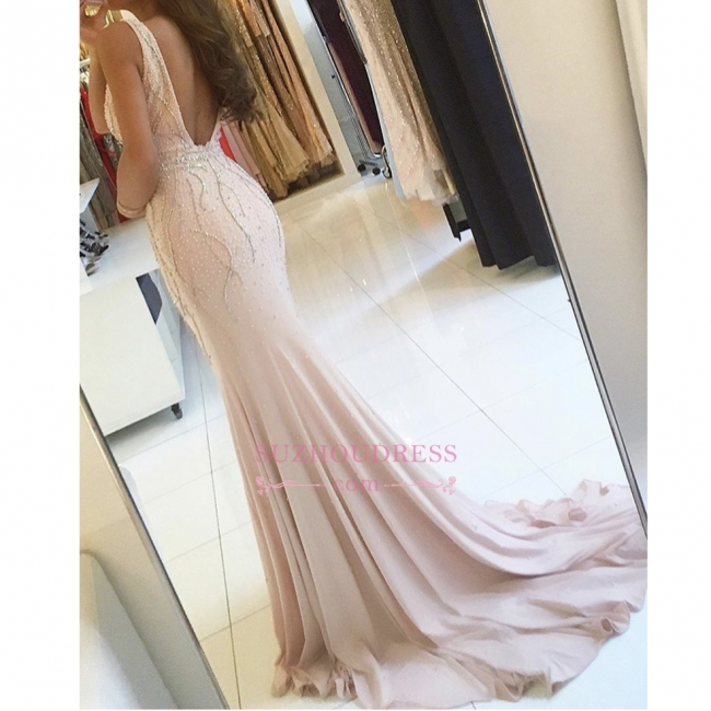 Side Slit Sleeveless V-neck Formal Evening Gown Sweep Train Two Straps Mermaid Prom Dress