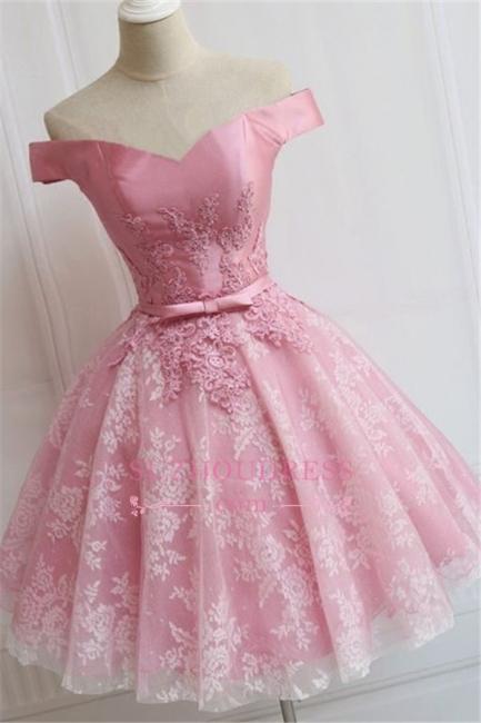 Pink Elegant Bowknot A-line Off-the-Shoulder Appliques Homecoming Dress qq0369