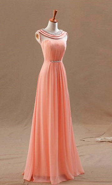High Neck Long Peach Prom Dresses for Junior with Crystal Collar Sash Chiffon Popular Pretty Evening Gowns