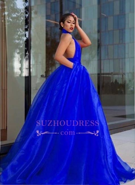 Royal Blue High Neck Prom Dresses  | Open Back A-line Evening Dress with Keyhole
