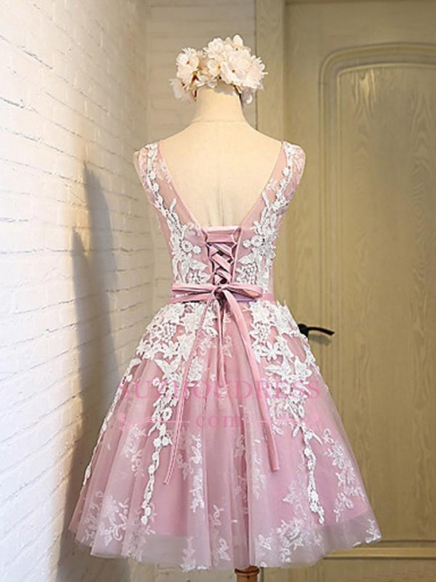 Sash Sleeveless Lace Lace-Up Pink Appliques Open-Back Jewel Homecoming Dresses