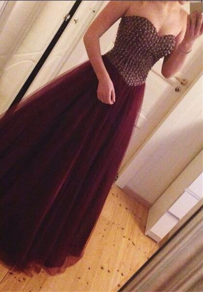 Crystal Sweetheart Burgundy Tulle  Prom Dress A-Line Beading Floor Length Party Dress