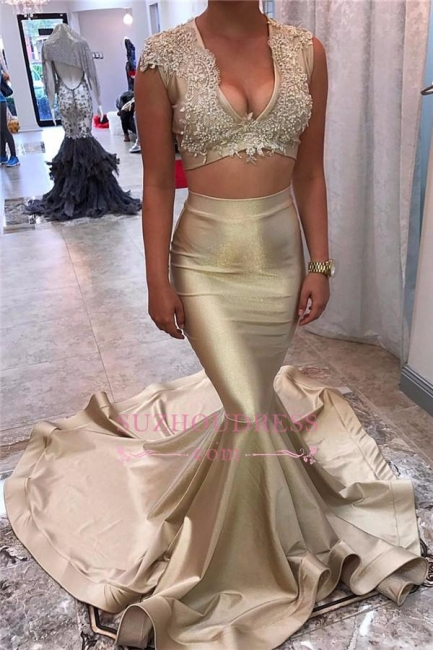 Two-Piece Champagne Gold Evening Dress  Appliques Lace Sleeveless Mermaid Sexy V-neck Prom Dress BA5571