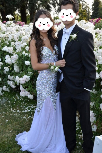 V-neck Sparkly Beaded Prom Gowns Chiffon Open Back Evening Dresses