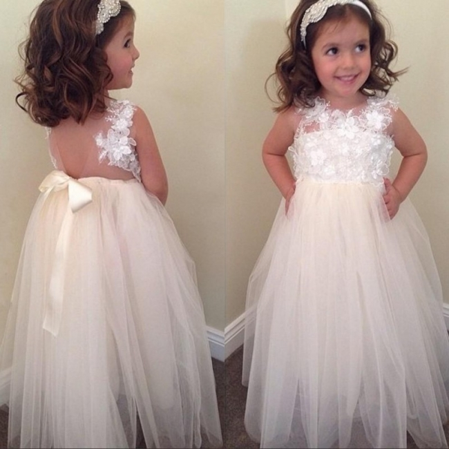 Cute Empire Tulle  Flower Girl Dress Sleeveless Flower Gowns with Bowknot