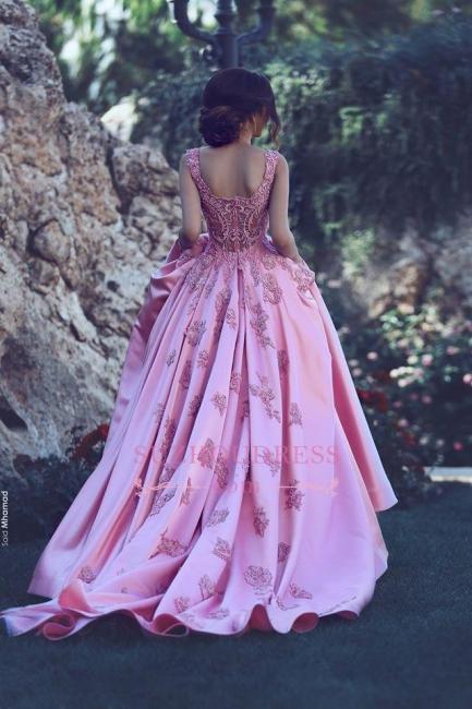 Sleeveless Candy Pink Appliques Evening Dress A-Line  Popular Prom Dress BA4562