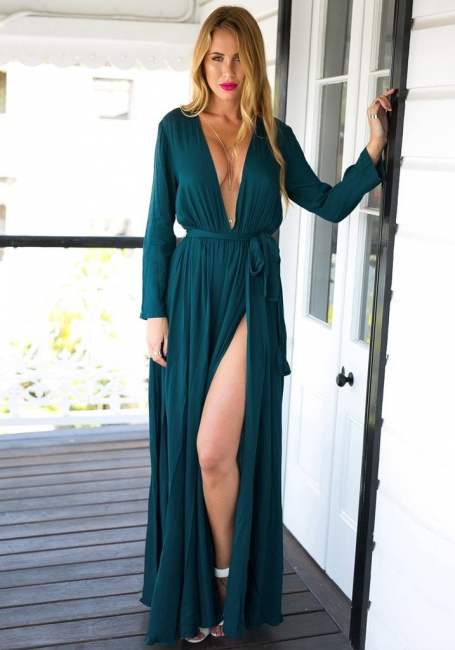 Long Sleeve Plunging Neck Summer Dress Chiffon Slit Long Party Gowns BA4579