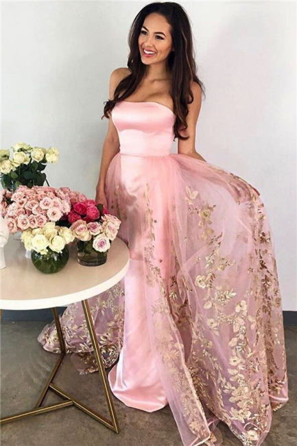 Strapless Candy Pink Prom Dress  Gold Lace Appliques Tulle Sleeveless Evening Gown