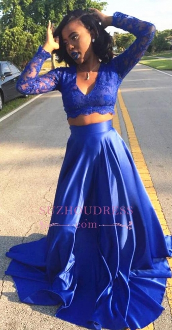 Two Piece Lace Royal Blue Long Sleeve  V-neck Prom Dress BA5258
