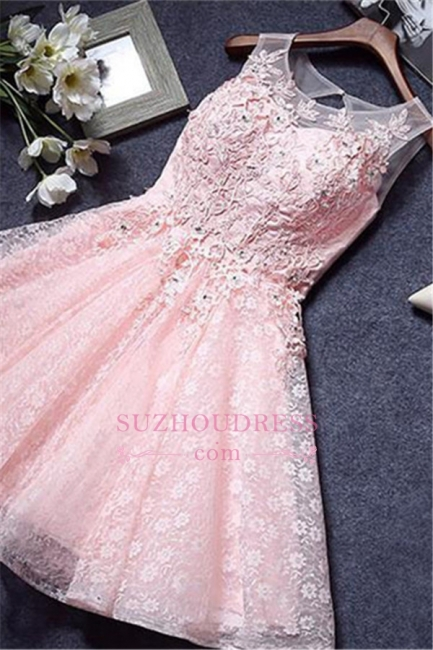 A-Line Pink Lace Appliques Sleeveless Homecoming Dress