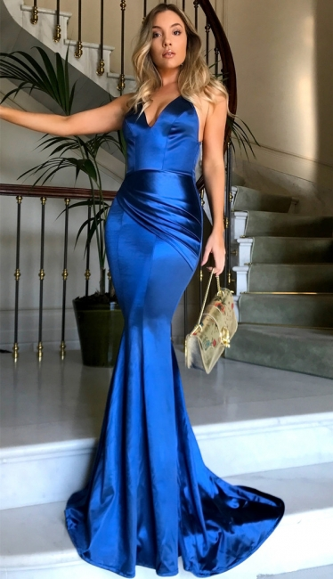 Royal Blue V-neck Open Back Sexy Formal Evening Dresses Silk Like Satin Evening Gown PT0386 FB0103