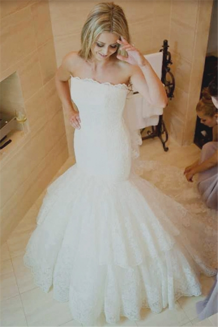 Mermaid Strapless Wedding Dress Lace Tiered Bridal Gowns