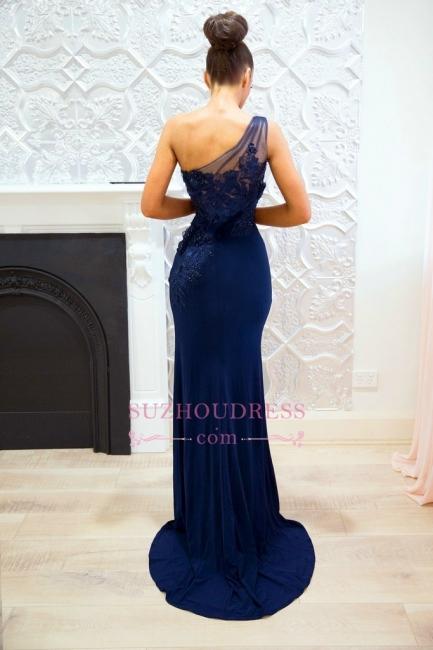 Sexy Navy Blue One-shoulder Prom Dresses | Split-front Lace Sheath Evening Dress