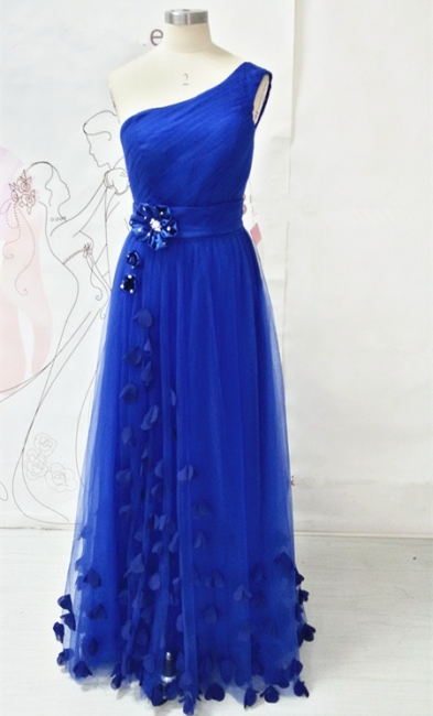 One Shoulder Royal Blue Long Prom Dresses with Butterfly Formal Lace-up Tulle Cute Evening Dresses