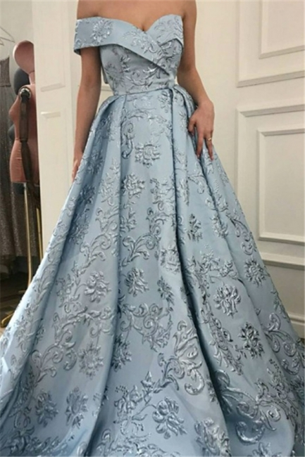 Elegant Off the Shoulder A-line Evening Dresses | Appliques Sweep Train Formal Dresses