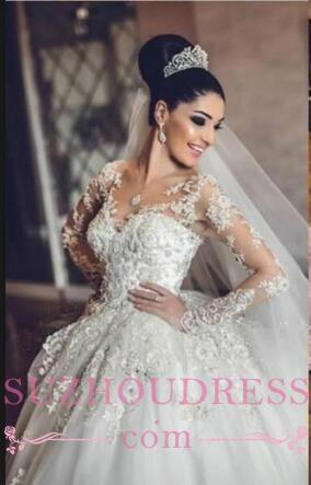 Luxurious Long Sleeves Ball Gown Wedding Dresses Lace Appliques Tulle Wedding Gowns  BA3182