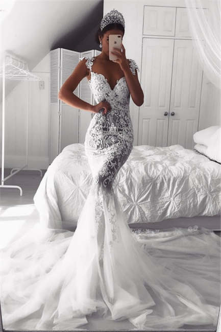 Sexy Mermaid Straps Wedding Dresses  | Sheer Tulle Sleeveless Appliques Bridal Gowns