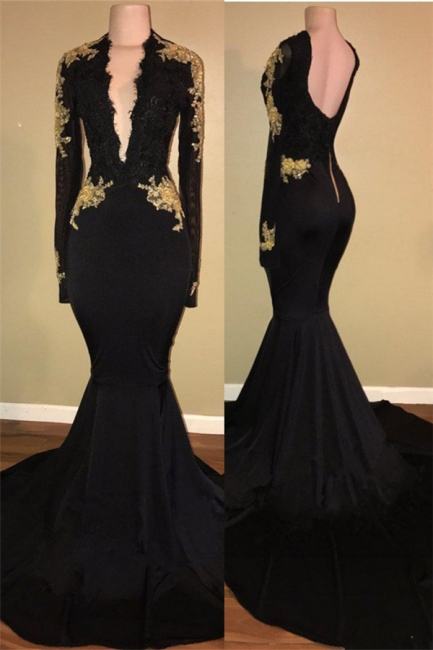 Gold Lace Long Sleeve Prom Dress  | Sexy Black Open Back Mermaid Evening Dress  BA7942