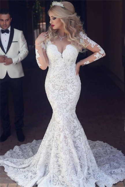Long Sleeve Mermaid Lace Wedding Dress Sexy Open Back V-neck Classic Bridal Gown