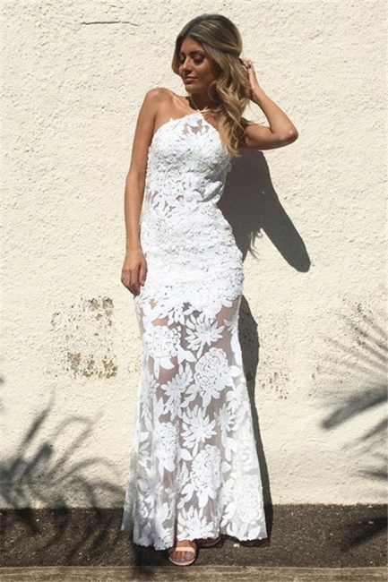 White Lace Sheath Backless Prom Dresses  Floor Length Evening Gowns