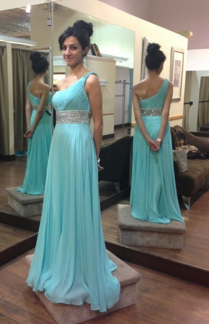 Elegant One Shoulder Crystal Long Prom Dress with Beadings Latest Ruffles Chiffon Party Gowns