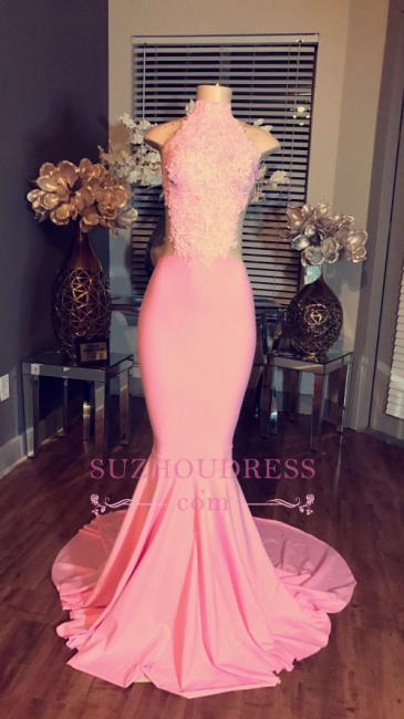 High Neck Long Evening Dress   Lace Sleeveless Pink Mermaid Prom Dresses BA4981