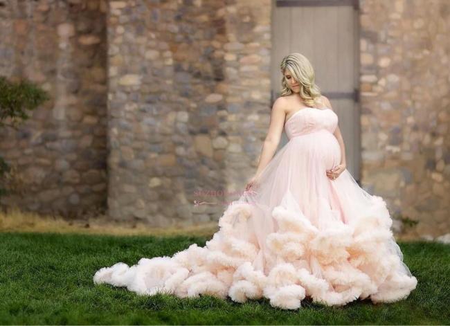 Maternity Pregnant Cloud Pink Long Strapless Wedding Dresses